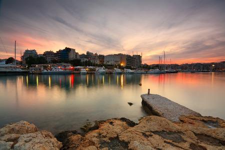 zea: Boats in front of bars and restaurants in Zea marina, Piraeus, Athens  Stock Photo