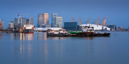 o2: Looking towards Canary Wharf from North Greenwich over river Thames and O2 Arena