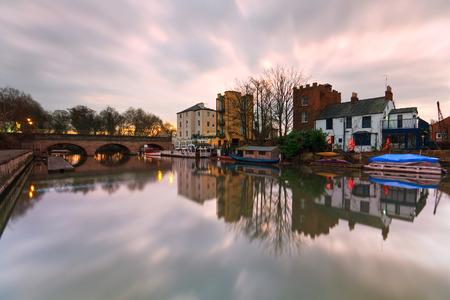 Boats near Folly Bridge on river Thames in Oxford