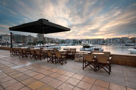 zea: Caffee shop terrace in Zea marina, Piraeus, Athens  Stock Photo