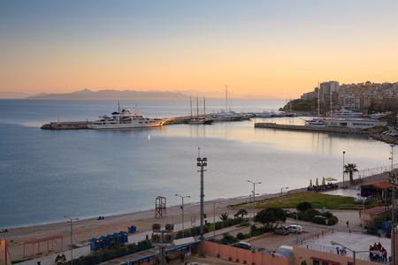 zea: View of Zea marina and a beach in Piraeus, Athens, Greece. Stock Photo
