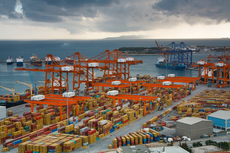Container port in Piraeus, Athens.