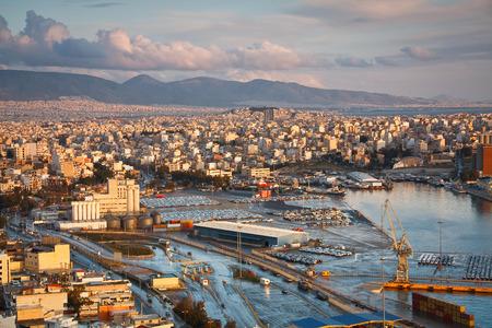 Cargo port in Piraeus, Athens.