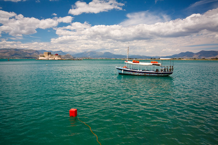nafplio: Nafplion harbour and a castle in Peloponnese, Greece. Editorial