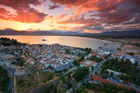 Evening view of Nafplio, Peloponnese, Greece.