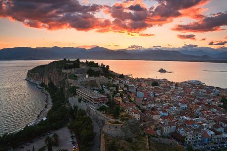 nafplio: Evening view of Nafplio, Peloponnese, Greece.