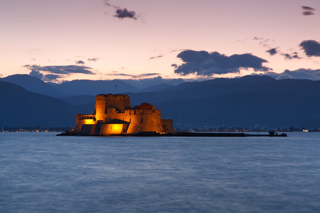 Bourtzi castle in the mouth of the harbour in Nafplion, Peloponnese, Greece.