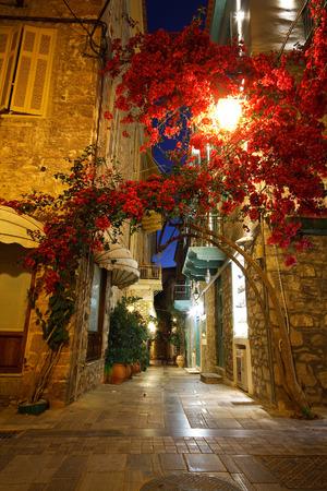 nafplio: Empty night streets in Nafplio, Greece.