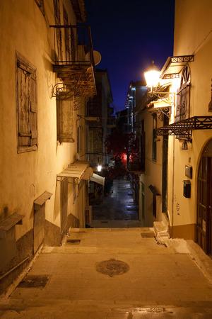 nafplio: Empty night streets in Nafplio town, Greece.