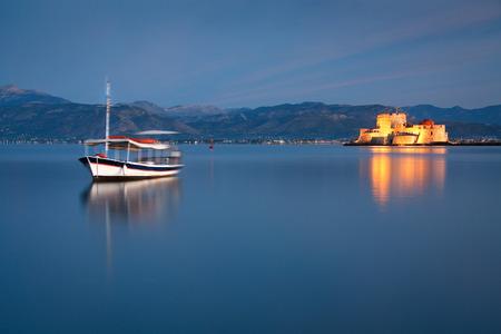 bourtzi: Morning view of Bourtzi castle in Nafplio, Greece. Stock Photo