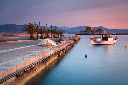 nafplio: Pier in Nafplio harbour in Peloponnese, Greece. Stock Photo