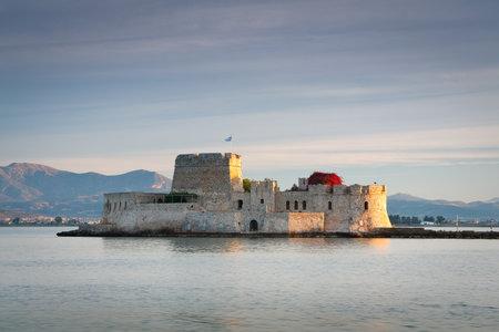 Morning scenery in Argolikos bay with Bourtzi castle, Greece.