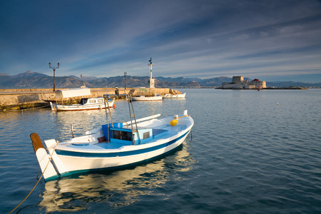 Nafplio harbour early in the morning, Greece. Editorial