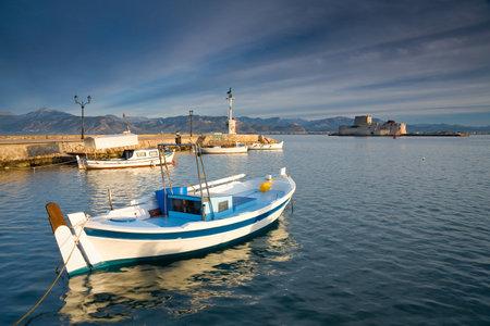 nafplio: Nafplio harbour early in the morning, Greece. Editorial
