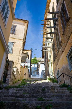 nafplio: Street in the old town of Nafplio, Peloponnese, Greece.