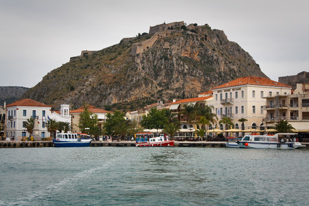 nafplio: View of Nafplio and Palamidi castle from the sea, Peloponnese, Greece. Editorial