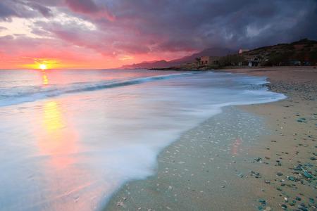 Villa on a beach in Makry Gialos Bay in Crete, Greece. Фото со стока