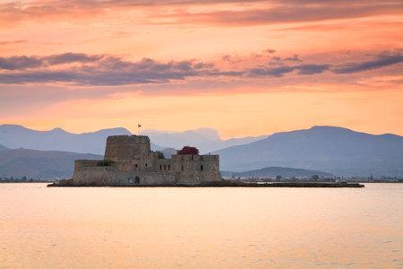 bourtzi: Evening view of Bourtzi castle in Nafplio, Greece.