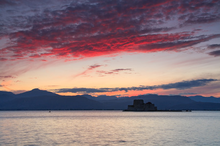 bourtzi: Sunset over Bourtzi castle in Peloponnese, Greece. Editorial