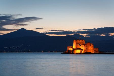 Bourtzi castle in Argolikos Bay in Peloponnese, Greece.