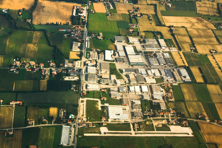 industrial park: Aerial view of an industrial park near Venice, Italy.