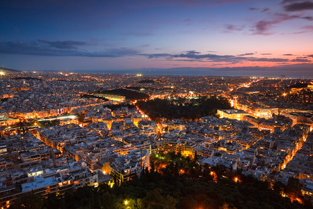 View of Athens from Lycabettus hill, Greece. Фото со стока