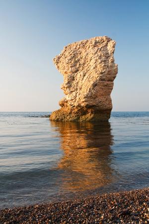 jurassic coast: Chalk sea stack on Jurassic Coast in Dorset.