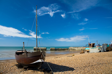 hastings: Boats in Hastings harbour, UK. Editorial