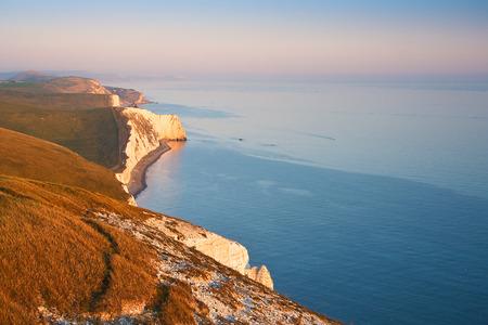 jurassic coast: Evening light on the cliffs of Jurassic coast in Dorset, UK. Stock Photo