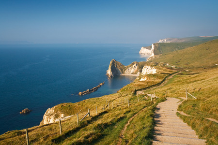 jurassic coast: Coast path along Jurassic Coast in Dorset, UK. Stock Photo