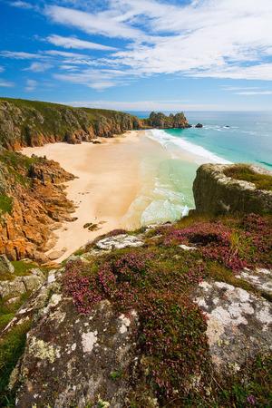 porthcurno: Porthcurno beach in Cornwall, UK. Stock Photo