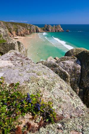 porthcurno: Sea cliffs over beach in Porthcurno, Cornwall, UK.