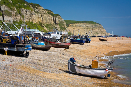 hastings: Fishing boats on the beach in Hastings, East Sussex, UK.