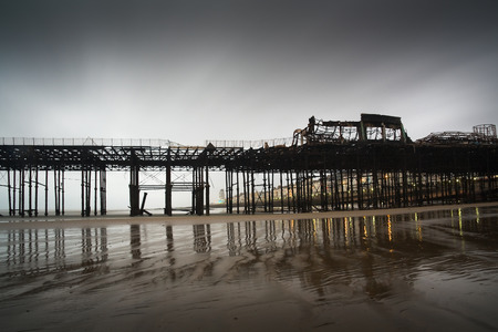 hastings: Pier in Hastings after fire, UK.