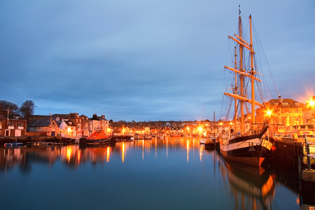 tall ship: Tall ship in Weymouth harbour, Dorset, UK. Stock Photo