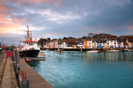 uk: Fishing harbour in Weymouth, Dorset, UK.
