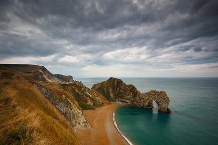 durdle: Durdle Door on Jurassic Coast in Dorset, UK. Stock Photo