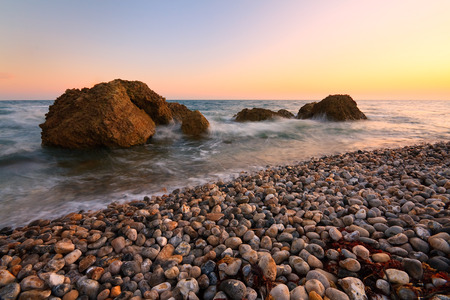 lyme: Evening beach near Lyme Regis, Dorset, UK.
