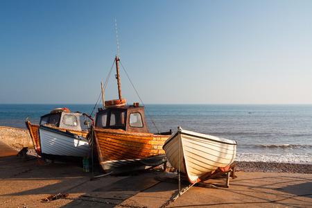slipway: Boats on the slipway in Sidmouth, Devon, UK.