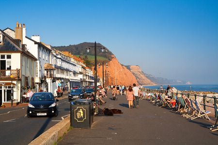 seafront: Seafront in Sidmouth on a summer day, Devon, UK.
