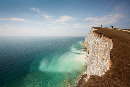 seven sisters: Cliff erosion at Seven Sisters cliffs in East Sussex, UK. Stock Photo