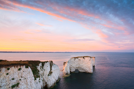 harry: Chalk cliffs and Old Harry rocks in eastern Dorset, UK. Stock Photo