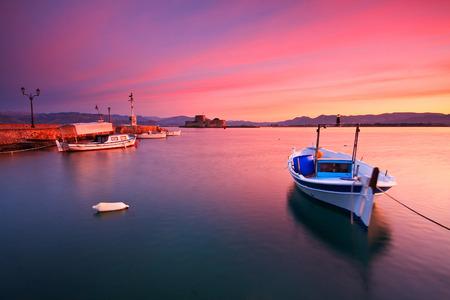 nafplio: Fishing boats in Nafplio, Greece. Stock Photo