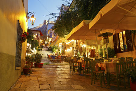 evening: Streets of Plaka in centre of Athens, Greece.