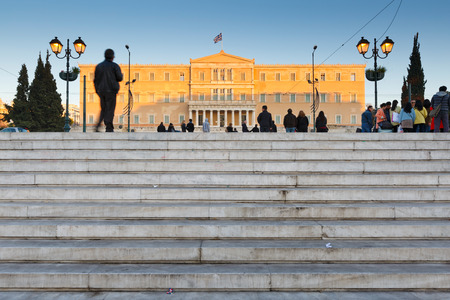 syntagma: Tourists at Syntagma square in front of the parliament, Athens
