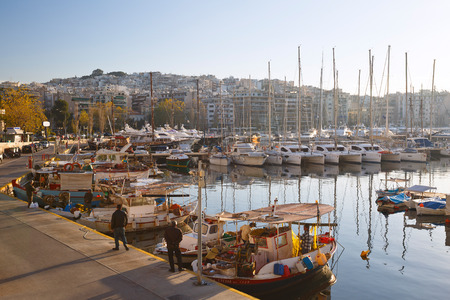 zea: Yachts and fishing boats in Zea Marina in Athens, Greece