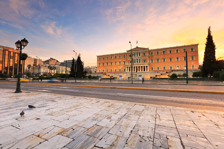 syntagma: Building of Greek parliament in Syntagma square, Athens.