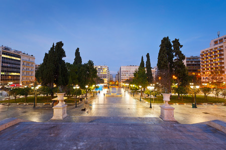syntagma: Morning view of Syntagma square in Athens, Greece.