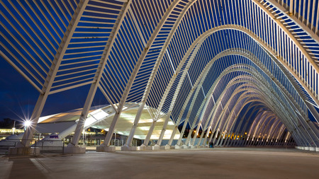 sports complex: Main entrance to the Olympic Sports Complex in Athens Editorial