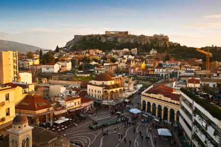 athens: Monastiraki square and Plaka, Athens, Greece.